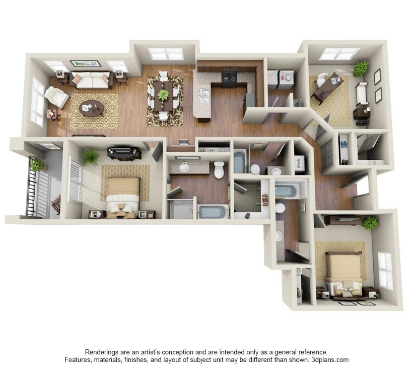 Three Bedroom Apartments Floor Plans three bedroom apartment plan | house plans